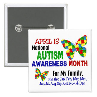 AUTISM AWARENESS MONTH APRIL PINBACK BUTTON