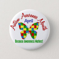 AUTISM AWARENESS MONTH APRIL Puzzle Butterfly Button