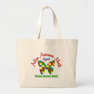 AUTISM AWARENESS MONTH APRIL Puzzle Butterfly Jumbo Tote Bag