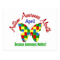 AUTISM AWARENESS MONTH APRIL Puzzle Butterfly Postcard