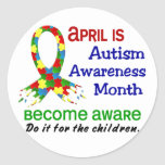 AUTISM AWARENESS MONTH APRIL ROUND STICKERS