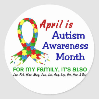 AUTISM AWARENESS MONTH EVERY MONTH CLASSIC ROUND STICKER