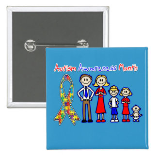 Autism Awareness Month Family Support 2 Inch Square Button