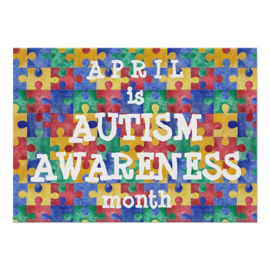 Autism Awareness Art Posters Framed Artwork: Autism Awareness Month Puzzle Poster