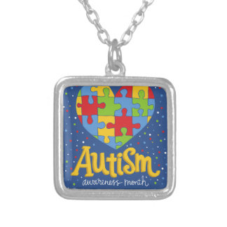 autism awareness month silver plated necklace
