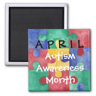 Autism Awareness month watercolor puzzle Magnet