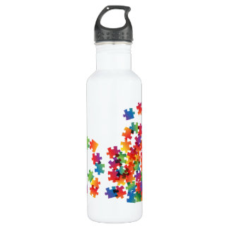 Autism Awareness Multicolor Puzzle Stainless Steel Water Bottle