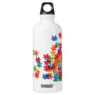 Autism Awareness Multicolor Puzzle Water Bottle