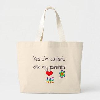 Autism awareness -My parents love me Large Tote Bag