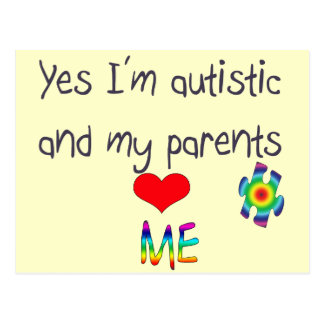 Autism awareness -My parents love me Postcard