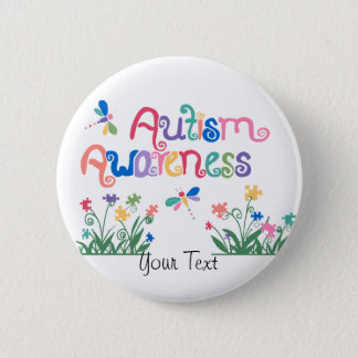 Autism Awareness on White  Button