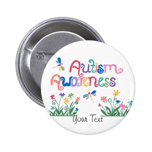 Autism Awareness on White  Button