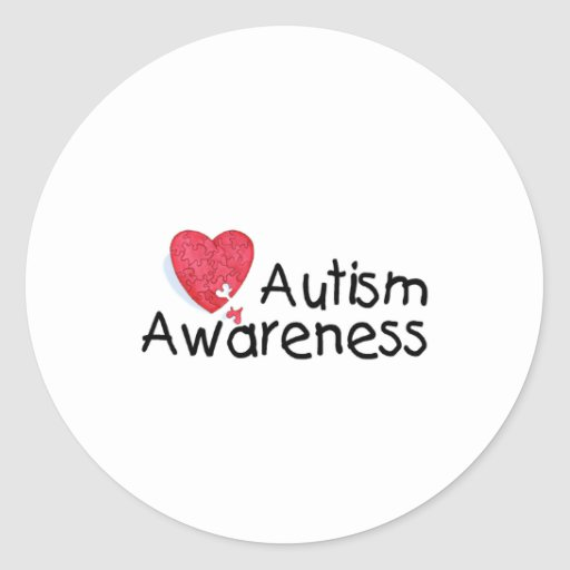 Autism Awareness (P Hrt) Classic Round Sticker