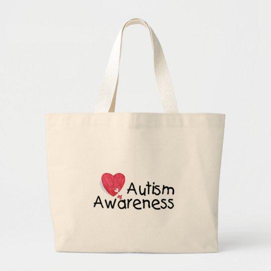 Autism Awareness (P Hrt) Large Tote Bag