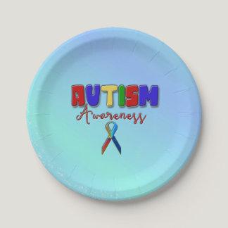 """Autism Awareness Paper Plates 7"""""""