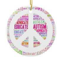 Autism Awareness Peach Products Ceramic Ornament