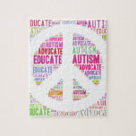 Autism Awareness Peach Products Jigsaw Puzzles