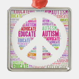 Autism Awareness Peach Products Metal Ornament