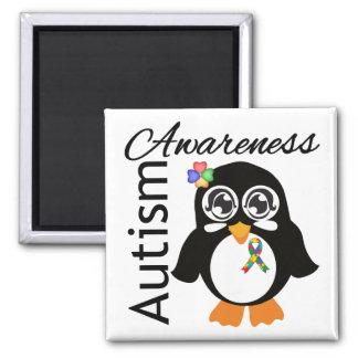 Autism Awareness Penguin 2 Inch Square Magnet