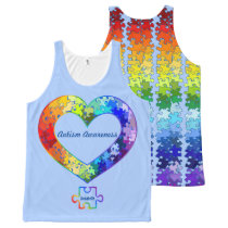Autism Awareness Personalized Puzzle Heart All-Over-Print Tank Top