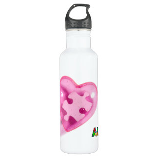 Autism Awareness Pink Heart Customize Water Bottle