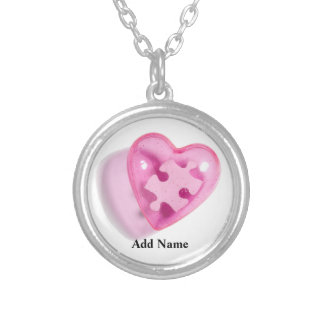 Autism Awareness Pink Heart Necklace Customize