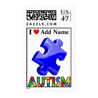Autism Awareness Postage Blue Puzzle Customize