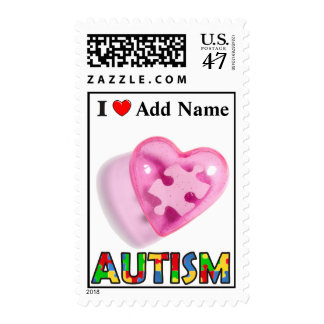 Autism Awareness Postage Pink Puzzle Customize