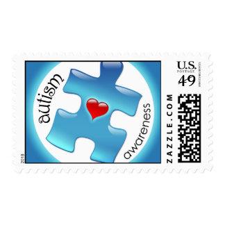 Autism Awareness Postage Stamps - Blue