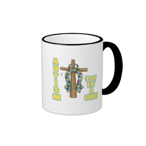 Autism Awareness-Pray for a Cure Ringer Coffee Mug