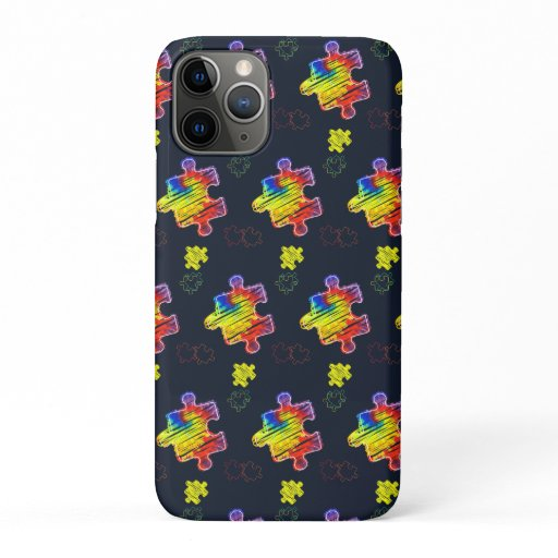 Autism Awareness Purple Yellow Puzzles iPhone 11 Pro Case