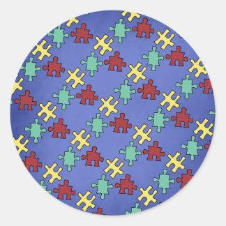 Autism Awareness Puzzle Background Classic Round Sticker