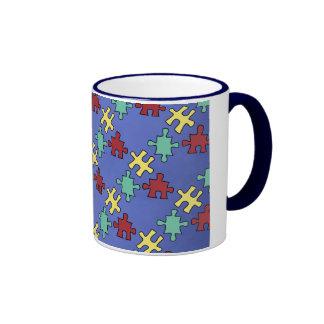 Autism Awareness Puzzle Background Mugs