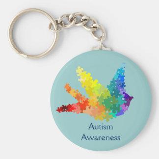 Autism Awareness Puzzle Bird Keychain