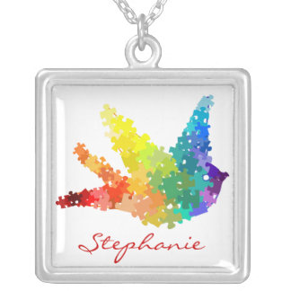 Autism Awareness Puzzle Bird Necklace