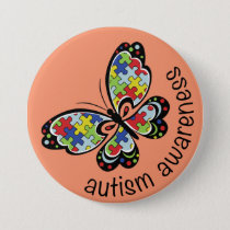 Autism Awareness Puzzle Butterfly Pinback Button