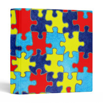Autism Awareness-Puzzle by Shirley Taylor 3 Ring Binder