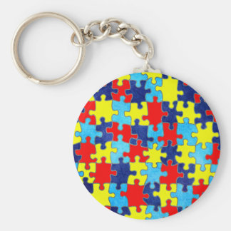 Autism Awareness-Puzzle by Shirley Taylor Basic Round Button Keychain