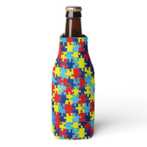 Autism Awareness-Puzzle by Shirley Taylor Bottle Cooler