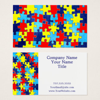 Autism Awareness-Puzzle by Shirley Taylor Business Card