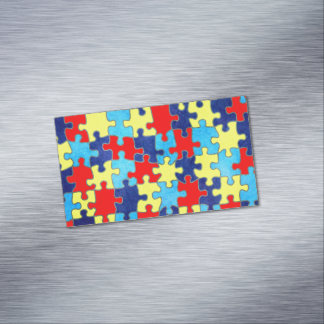 Autism Awareness-Puzzle by Shirley Taylor Business Card Magnet