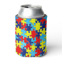 Autism Awareness-Puzzle by Shirley Taylor Can Cooler