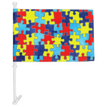 Autism Awareness-Puzzle by Shirley Taylor Car Flag