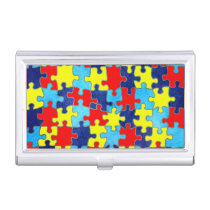 Autism Awareness-Puzzle by Shirley Taylor Case For Business Cards