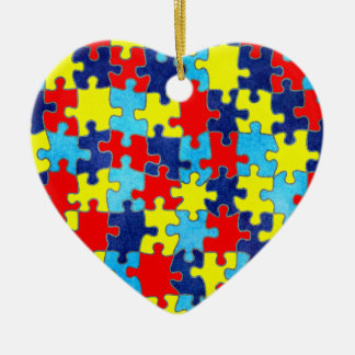 Autism Awareness-Puzzle by Shirley Taylor Ceramic Ornament
