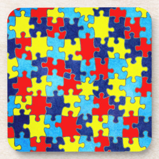 Autism Awareness-Puzzle by Shirley Taylor Drink Coaster