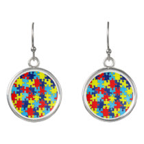 Autism Awareness-Puzzle by Shirley Taylor Earrings