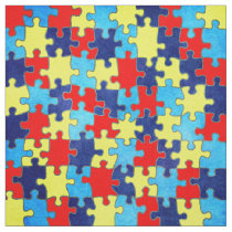 Autism Awareness-Puzzle by Shirley Taylor Fabric