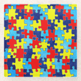 Autism Awareness-Puzzle by Shirley Taylor Glass Coaster