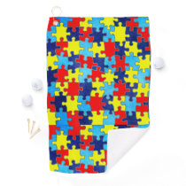 Autism Awareness-Puzzle by Shirley Taylor Golf Towel